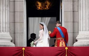 Wedding procession: Kate, Duchess of Cambridge, smiles next to her husband