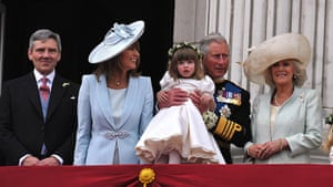 Wedding procession: Michael Middleton, Carole Middleton, Prince Charles on the balcony