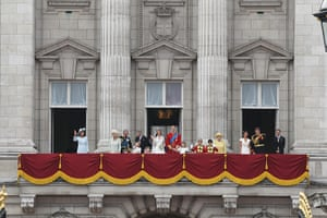 Wedding procession: The family gather on the balcony of Buckingham Palace