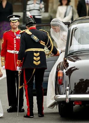 Wedding procession: Kate Middleton and her father Michael arrive at Westminster Abbey