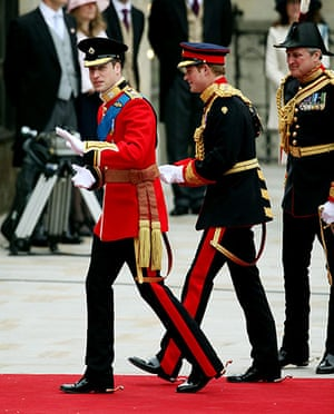 Wedding procession: Princes William and Harry arrive at Westminster Abbey