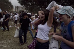 Pillow fight day: Sao Paulo, Brazil: People at a flash-mob pillow fight