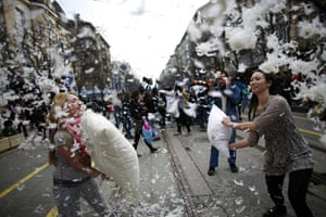 Pillow fight day: Sofia, Bulgaria: People participate in a flashmob pillow fight