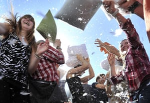 Pillow fight day: Zurich, Switzerland: Flash-mob pillow fight