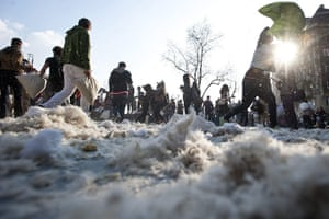 Pillow fight day: Budapest, Hungary: Feathers lie on the ground after Pillow Fight Day