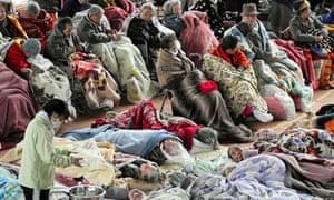 elderly evacuees at Kesennuma, n Japan