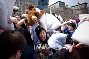 Pillow fight day: New York, USA: People pillow fighting in Union Square