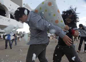 Pillow fight day: Brasilia, Brazil: People participate in a flashmob pillow fight