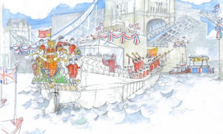 Artists illustration of the Thames Jubilee Pageant