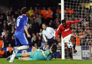 Chelsea v United: Patrice Evra clears the ball off the line from Frank Lampard's shot