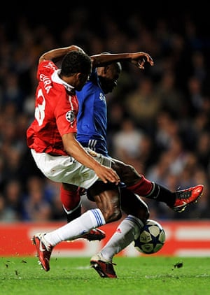 Chelsea v United: Chelsea's Ramires is brought down by Manchester United's Patrice Evra
