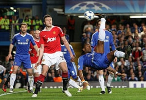 Chelsea v United: Didier Drogba tries an overhead kick