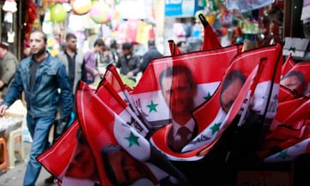 Flags on sale in Damascus