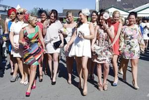 Aintree Ladies Day: Racegoers arrive for Ladies Day at Aintree Racecourse