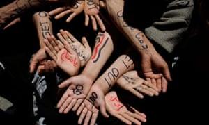 Protesters' hands Yemen
