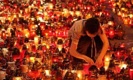 A memorial in Poland following the Smolensk plane crash