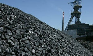 Freshly mined, high quality coal awaits transport in Katowice, Poland