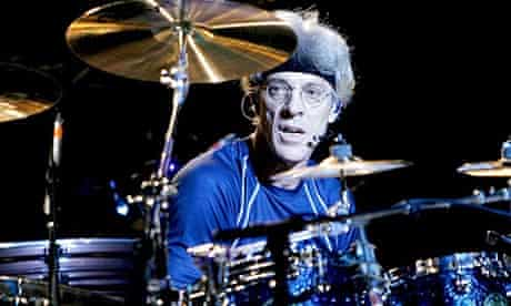 Stewart Copeland in his former guise as drummer in the Police