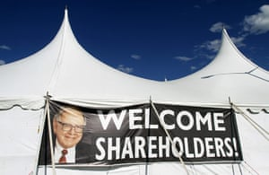 Berkshire Hathaway: A sign welcomes Berkshire Hathaway shareholders to a picnic