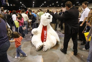 Berkshire Hathaway: A polar bear character entertains Berkshire Hathaway shareholders