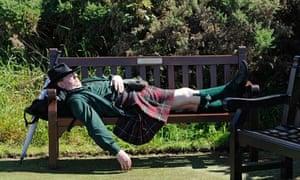 Open Golf day three - man sleeping
