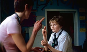 Deaf pupil and teacher