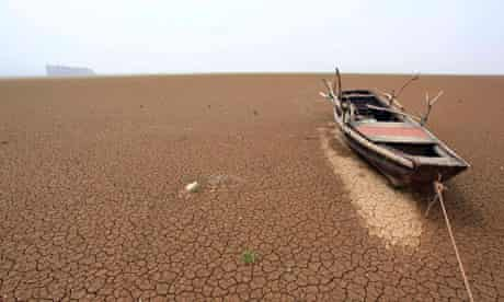 Boat on dried-up lake in China
