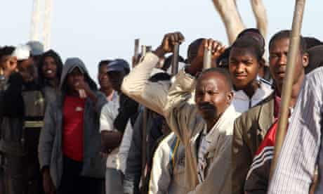 Refugees at UNHCR camp in Tunisia