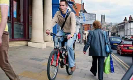 Pavement politics ... a naughty cyclist
