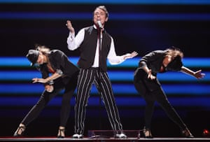 Eurovision Semi Finals: Hotel FM with singer David Bryan of Romania