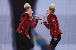 Eurovision Semi Finals: John and Edward Grimes of the band Jedward