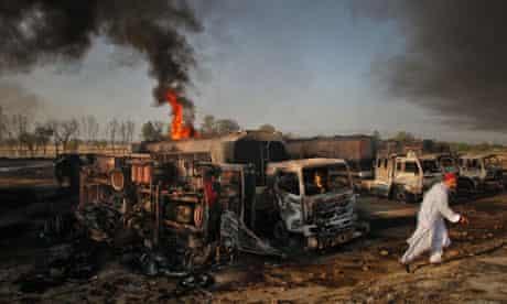 Fuel tankers burning in Pindi Gheb