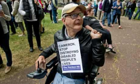 A disabled protester