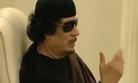Muammar Gaddafi give an audio speech