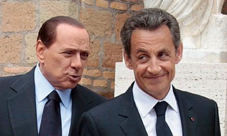 Silvio Berlusconi, left, and Nicolas Sarkozy