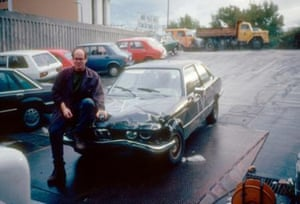 Rory Peck poses with his Bosnian BMW
