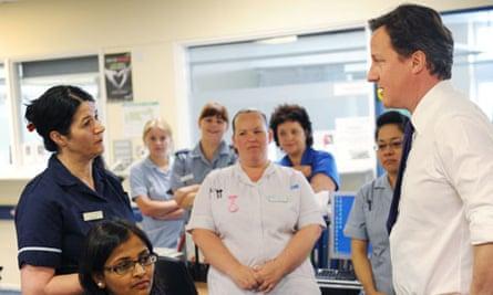 David Cameron and NHS staff in Ealing
