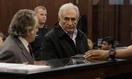 Dominique Strauss-Kahn with his laywer Benjamin Brafman during the arraignment in New York.