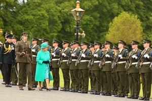 The Queen visits Ireland: Queen Elizabeth II inspects the Guard of Honour