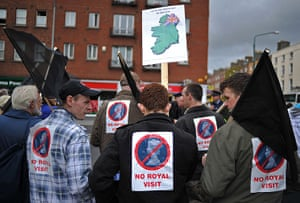 The Queen visits Ireland: Protestors gather in Dublin to demonstrate