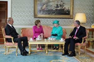 The Queen visits Ireland: Britain's Queen Elizabeth II enjoys tea with Ireland's president