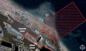 The outline of the proposed Leith biomass plant, with Ocean Terminal to the left | pic: Forth Energy