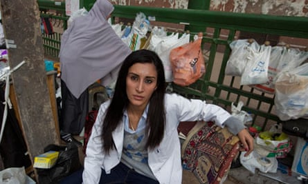 06/02/2011 Dr Dina Omar Ismail a volunteer doctor treating the protesters.Photo Sean Smith