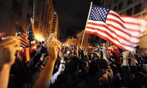 Crowds gather at Ground Zero to celebrate the death of Osama bin Laden
