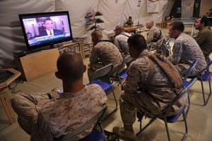 Bin Laden US reaction: US Marines watch news of Bin Laden's death