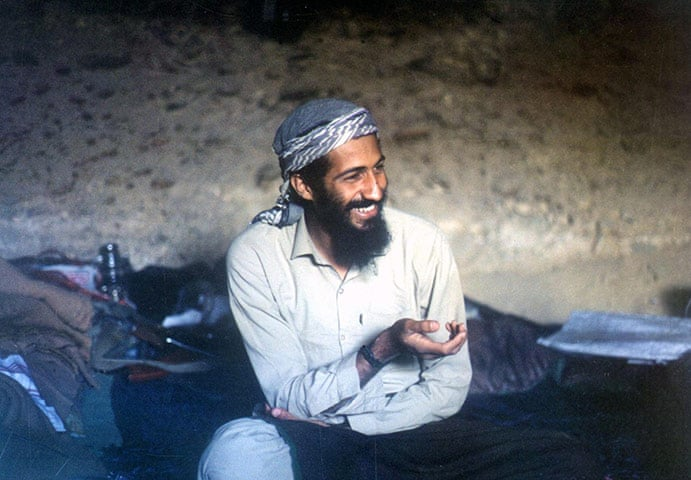 1988: Osama bin Laden in a cave in the Jalalabad region of Afghanistan Photograph: AFP/Getty Images