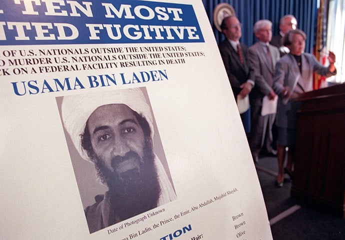 1999: An Osama bin Laden wanted poster at a US justice department press conference in New York Photograph: Doug Kanter/EPA