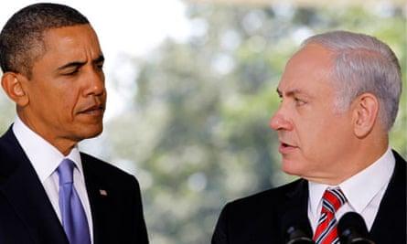 US President Obama listens as Israeli PM Netanyahu