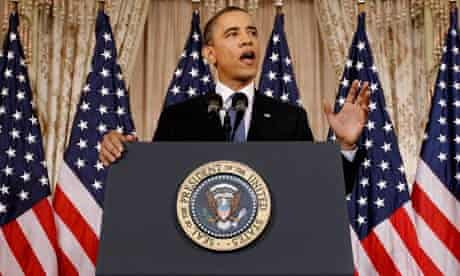 Barack Obama delivers his speech on the Middle East