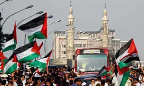 Egyptians demonstrators outside the Israeli embassy